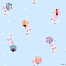 Disney Frozen Official Elsa Anna Snowflake Pattern Childrens Movie Wallpaper FR3003-1