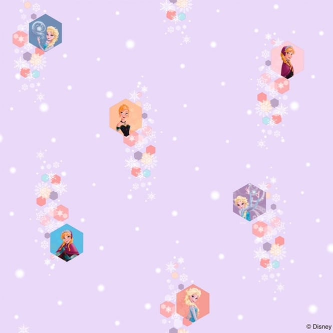 Disney Frozen Official Elsa Anna Snowflake Pattern Childrens Movie Wallpaper FR3003-3