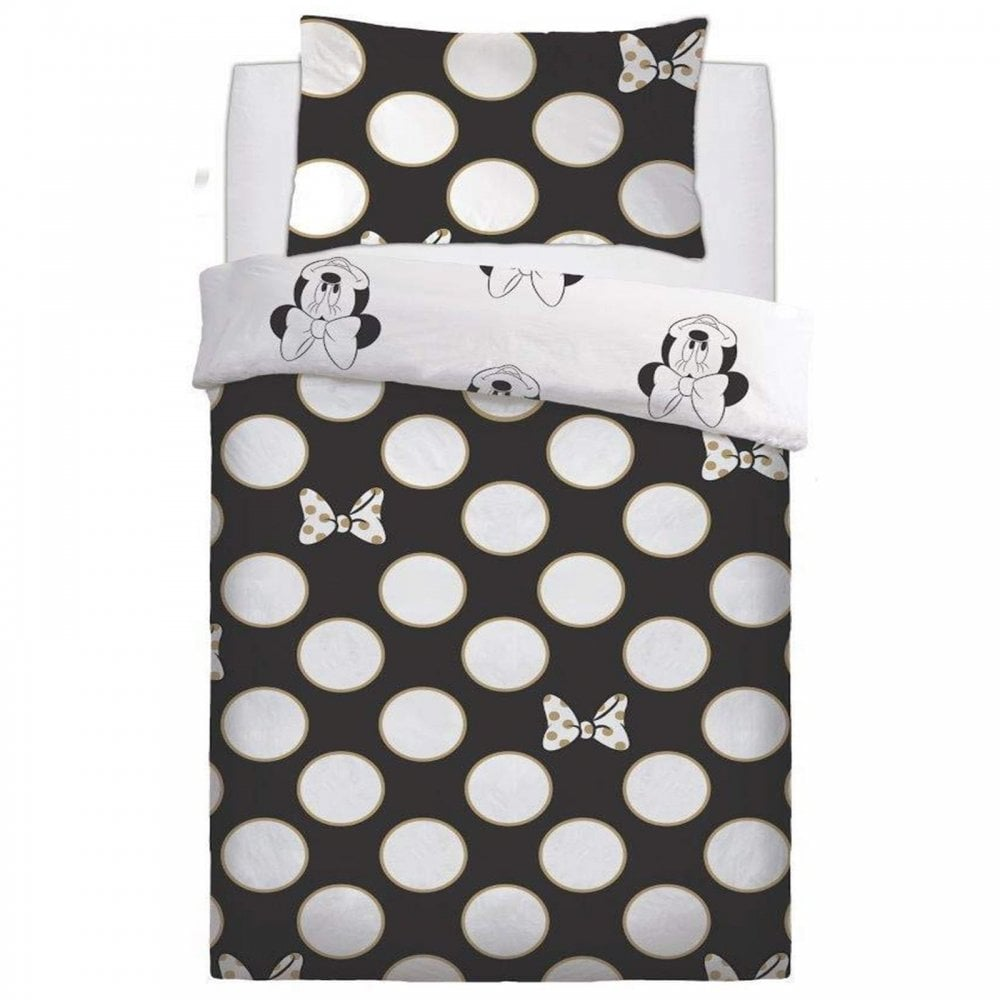 Disney Minnie Mouse Gold Bows Black Duvet Cover Bedding Single 453115