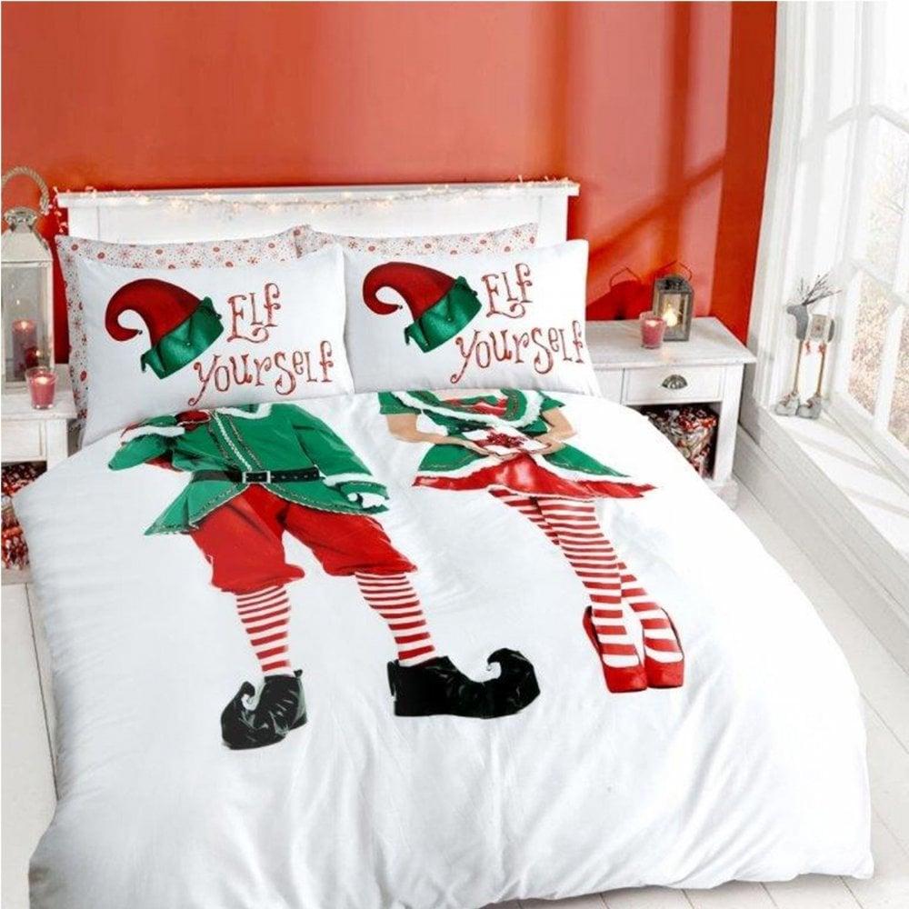 Elf Yourself Duvet Cover Christmas Festive Bedding Double