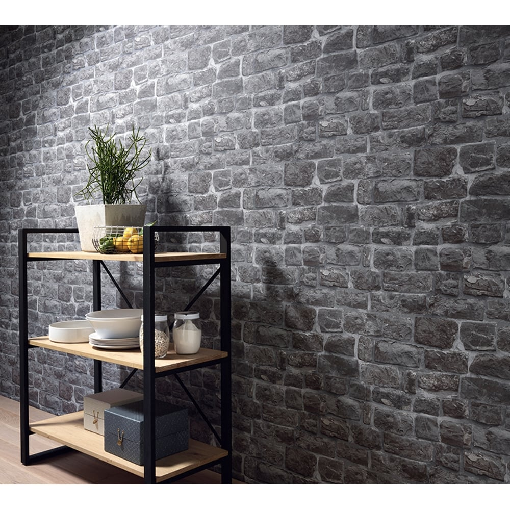 Erismann Brix Brick Pattern Wallpaper Faux Stone Effect ...