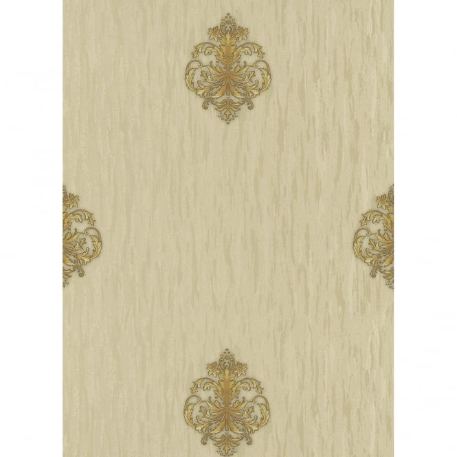 Erismann Classic Moments Damask Motif Textured Metallic Gold Silver Vinyl Wallpaper 5783-30