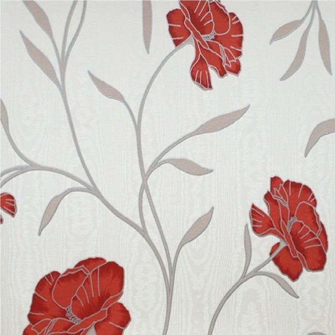 Erismann poppy floral embossed flower textured vinyl