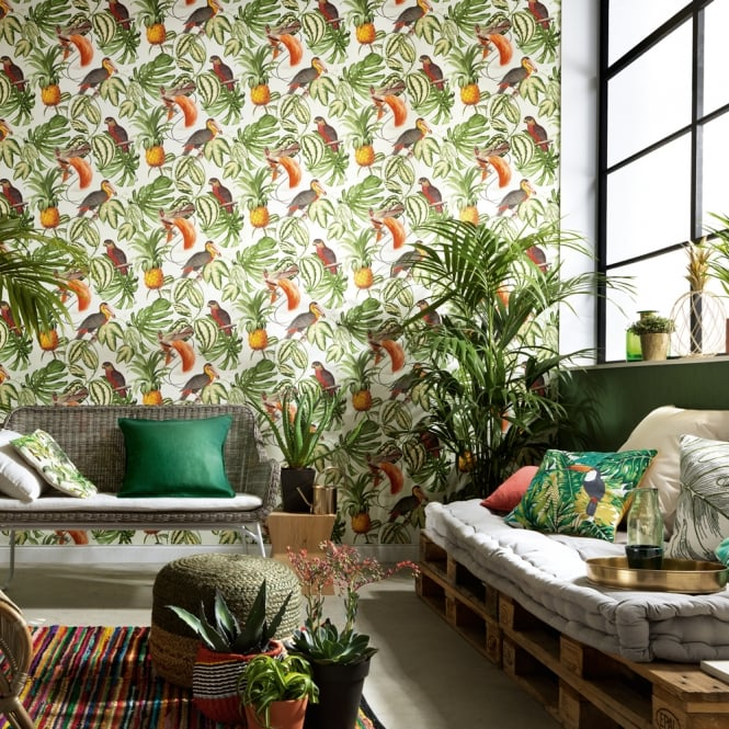 Erismann Paradiso Tropical Bird Pattern Wallpaper Jungle