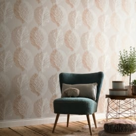 Erismann Scandinja Leaves Pattern Wallpaper Embossed Floral Leaf Metallic Motif 6463-11