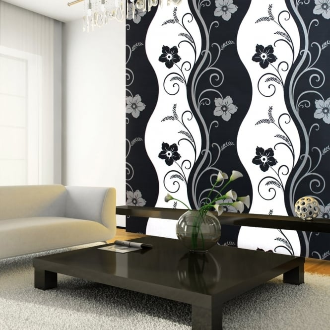 Arthouse Exclusive Rhythm Floral Pattern Flower Motif Metallic Wallpaper 614405