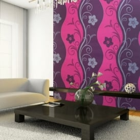 Exclusive Arthouse Rhythm Floral Pattern Flower Motif Metallic Wallpaper 614406