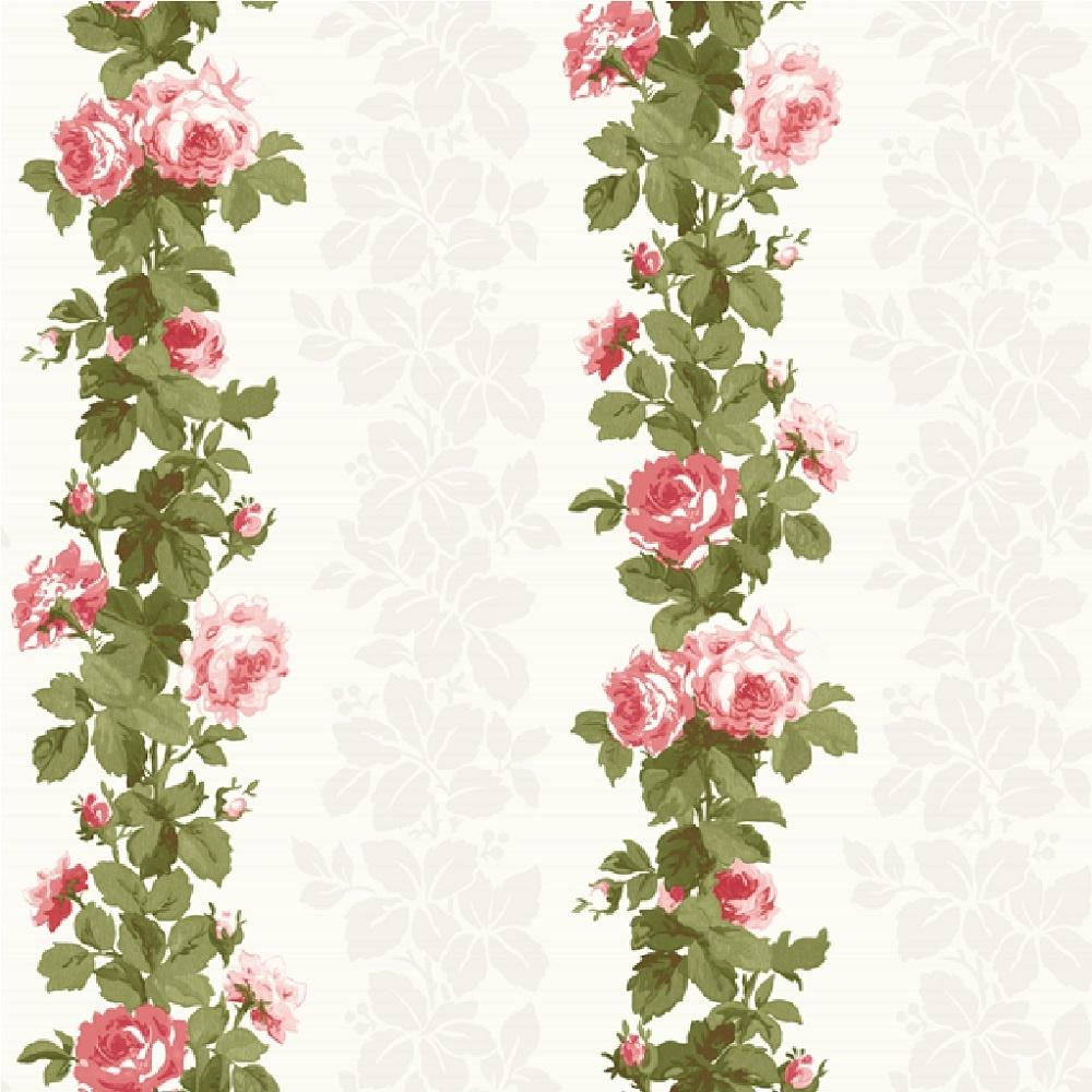 fine decor heritage floral stripe rose flower wallpaper. Black Bedroom Furniture Sets. Home Design Ideas