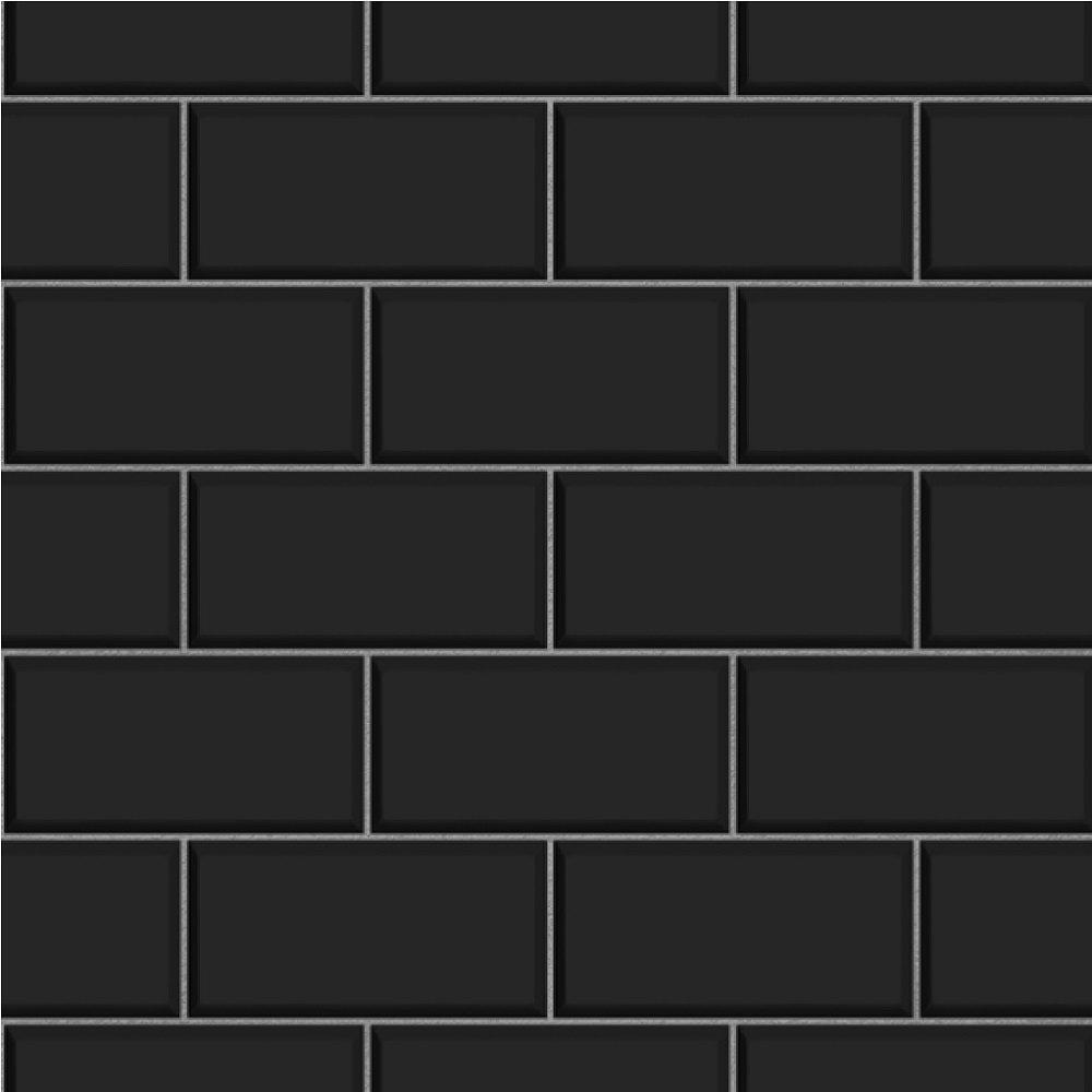 Fine decor ceramica subway brick tile embossed vinyl for White tile wallpaper
