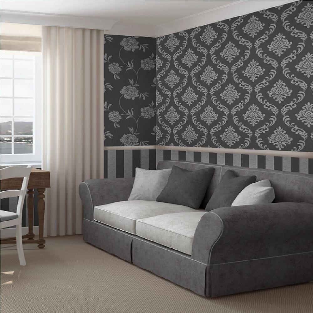 Fine decor torino stripe textured metallic vinyl wallpaper for Home decor wall papers
