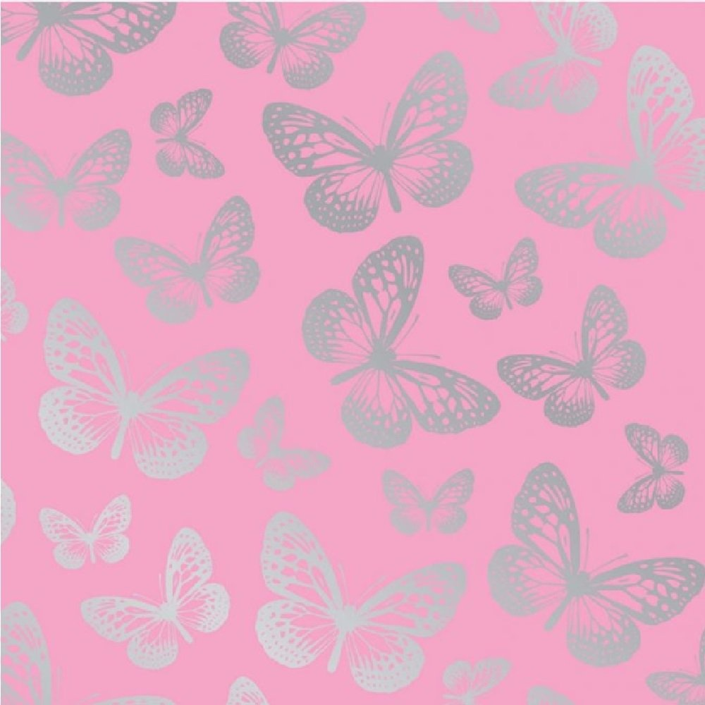 Butterfly pink metallic silver childrens kids girls for Butterfly wallpaper for walls