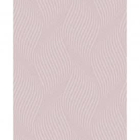Geometric Ogee Wave Textured Non-Woven Wallpaper Roll Pink DL31221
