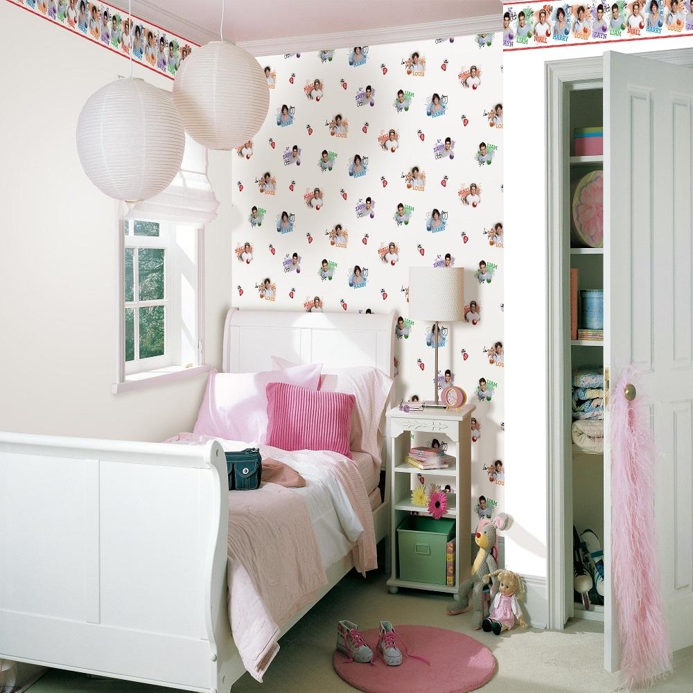 one direction 1d harry niall zayn louis liam bedroom wallpaper border bo50012. Black Bedroom Furniture Sets. Home Design Ideas
