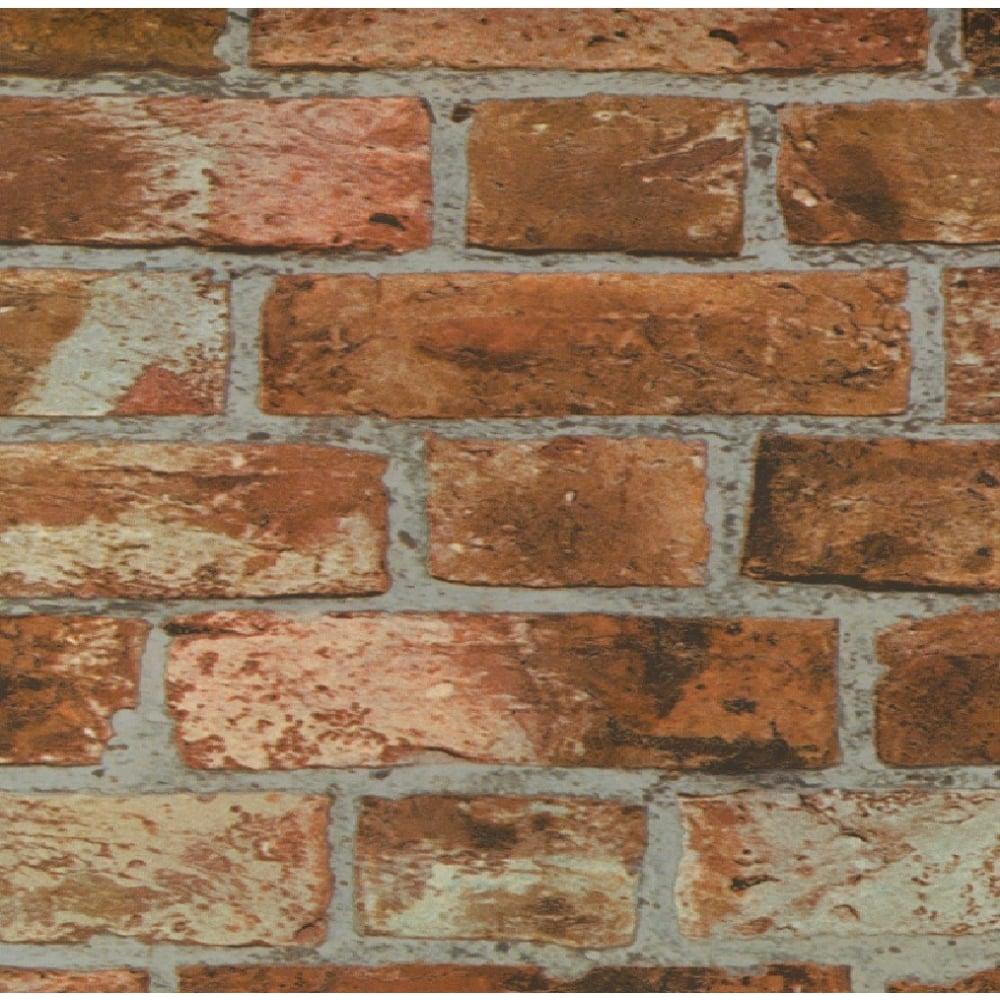 Fine Decor Red Brick Pattern Wallpaper Realistic Faux ...