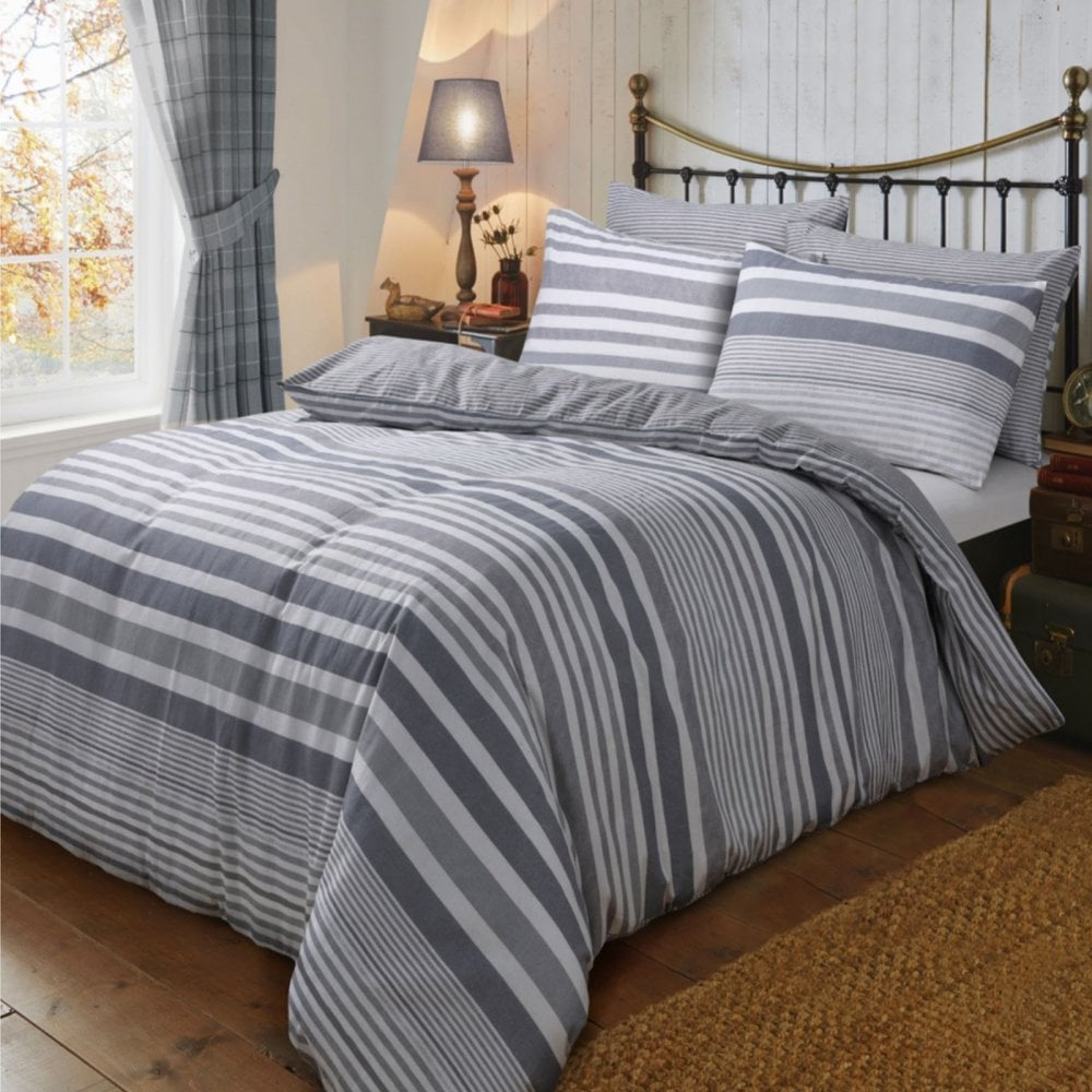 Flannel Stripe Grey Duvet Cover Reversible Bedding Brushed