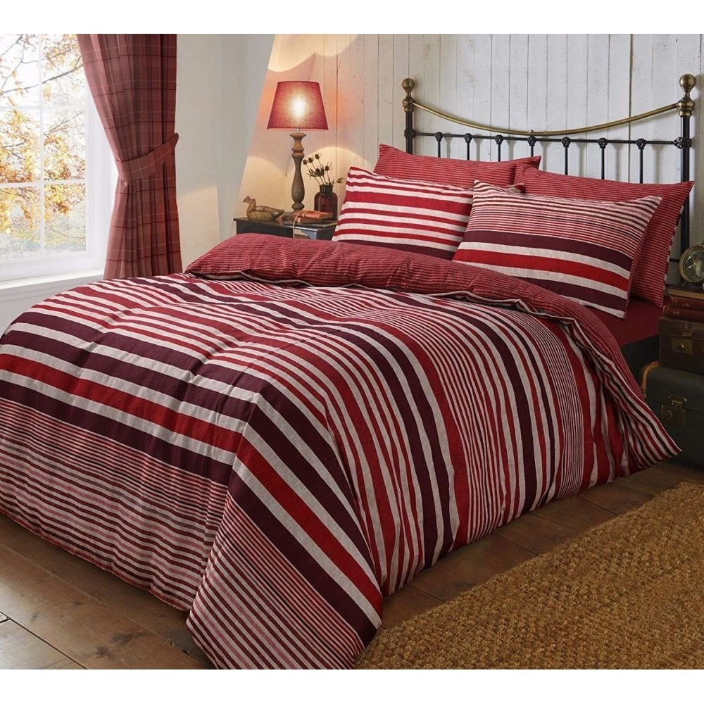 Flannel Stripe Red Duvet Cover Reversible Bedding Brushed Cotton