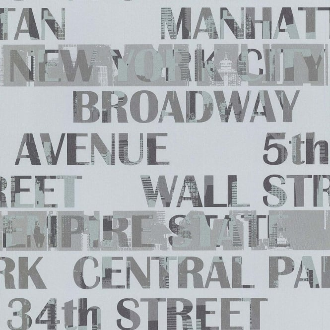 Galerie Wallcoverings Galerie New York Typography Manhattan Silver City Pattern Wallpaper 12118409