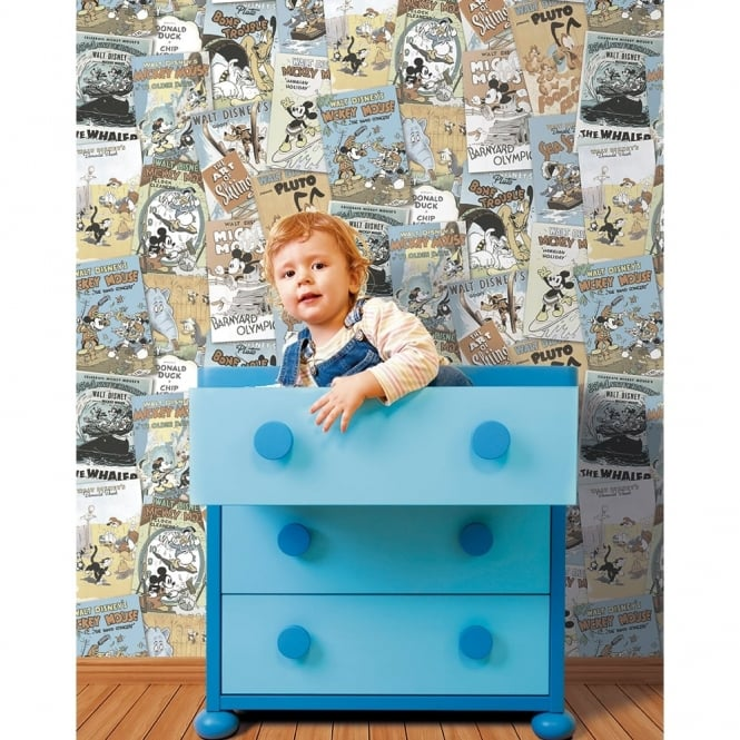 Galerie Wallcoverings Galerie Official Disney Mickey Minnie Donald Duck Comic Cover Childrens Wallpaper DY3012-2