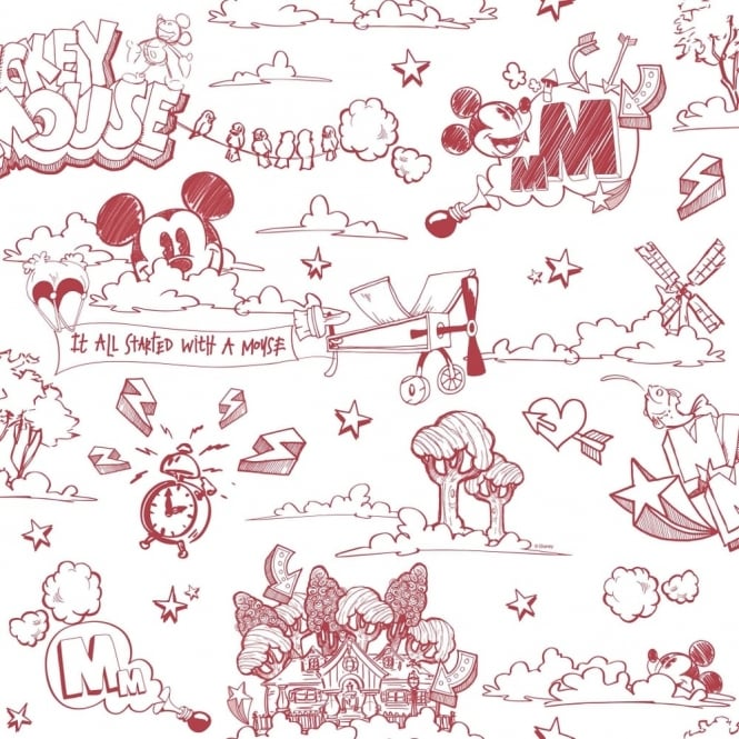 Galerie Wallcoverings Galerie Official Disney Mickey Mouse Pattern Pencil Cartoon Childrens Wallpaper MK3014-3