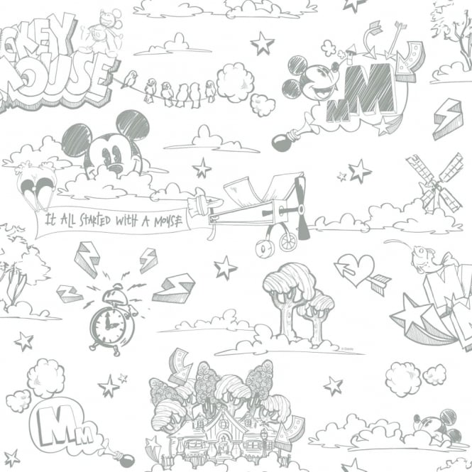 Galerie Wallcoverings Galerie Official Disney Mickey Mouse Pattern Pencil Cartoon Childrens Wallpaper MK3014-4