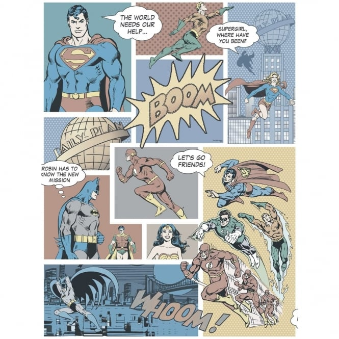 Galerie Wallcoverings Galerie Official Superman Batman Flash Comic Superhero Childrens Wallpaper DC9002-2