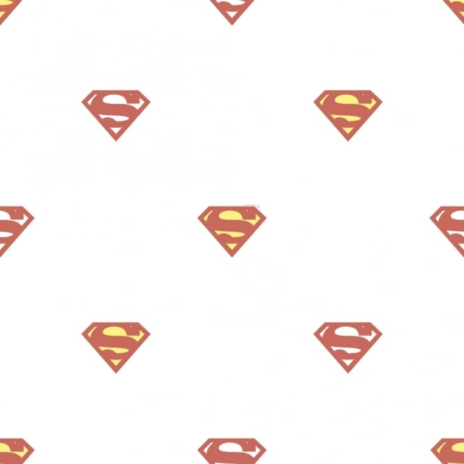 Galerie Wallcoverings Galerie Official Superman Logo Pattern Superhero DC Comics Childrens Wallpaper SP9003-1
