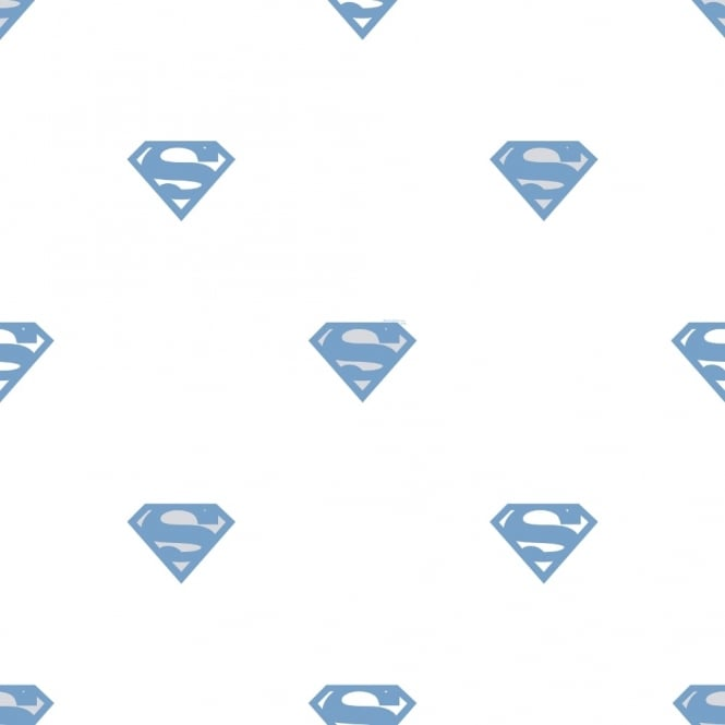 Galerie Wallcoverings Galerie Official Superman Logo Pattern Superhero DC Comics Childrens Wallpaper SP9003-2