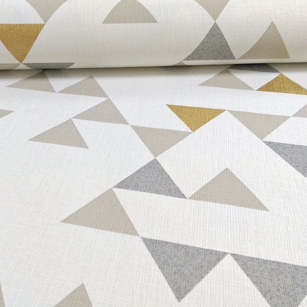 Galerie Wallcoverings Galerie Unplugged Triangle Pattern Geometric Metallic Gold Vinyl Wallpaper Un3106