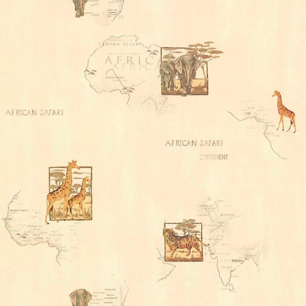 Galerie Wallcoverings Galerie Cream Africa Vintage Map Motif Animal Pattern  Wallpaper 11054807