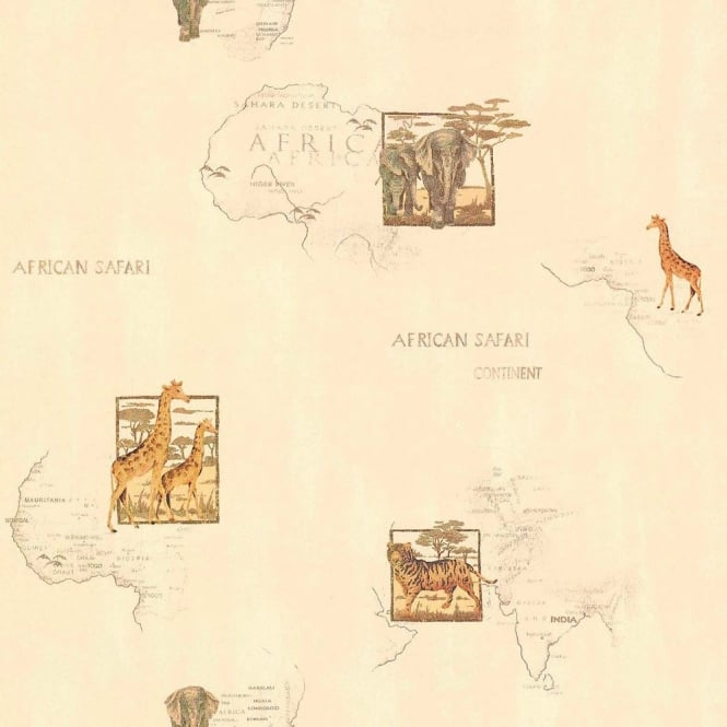 Galerie Wallcoverings Galerie Cream Africa Vintage Map Motif Animal Pattern Wallpaper 11054807
