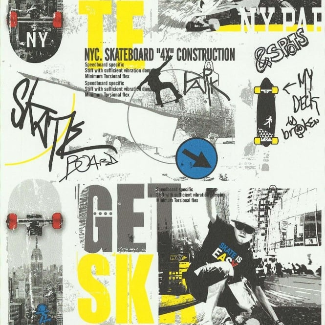 Galerie Wallcoverings Galerie Get Skate Skateboarding Motif New York Teenager Wallpaper 51140102