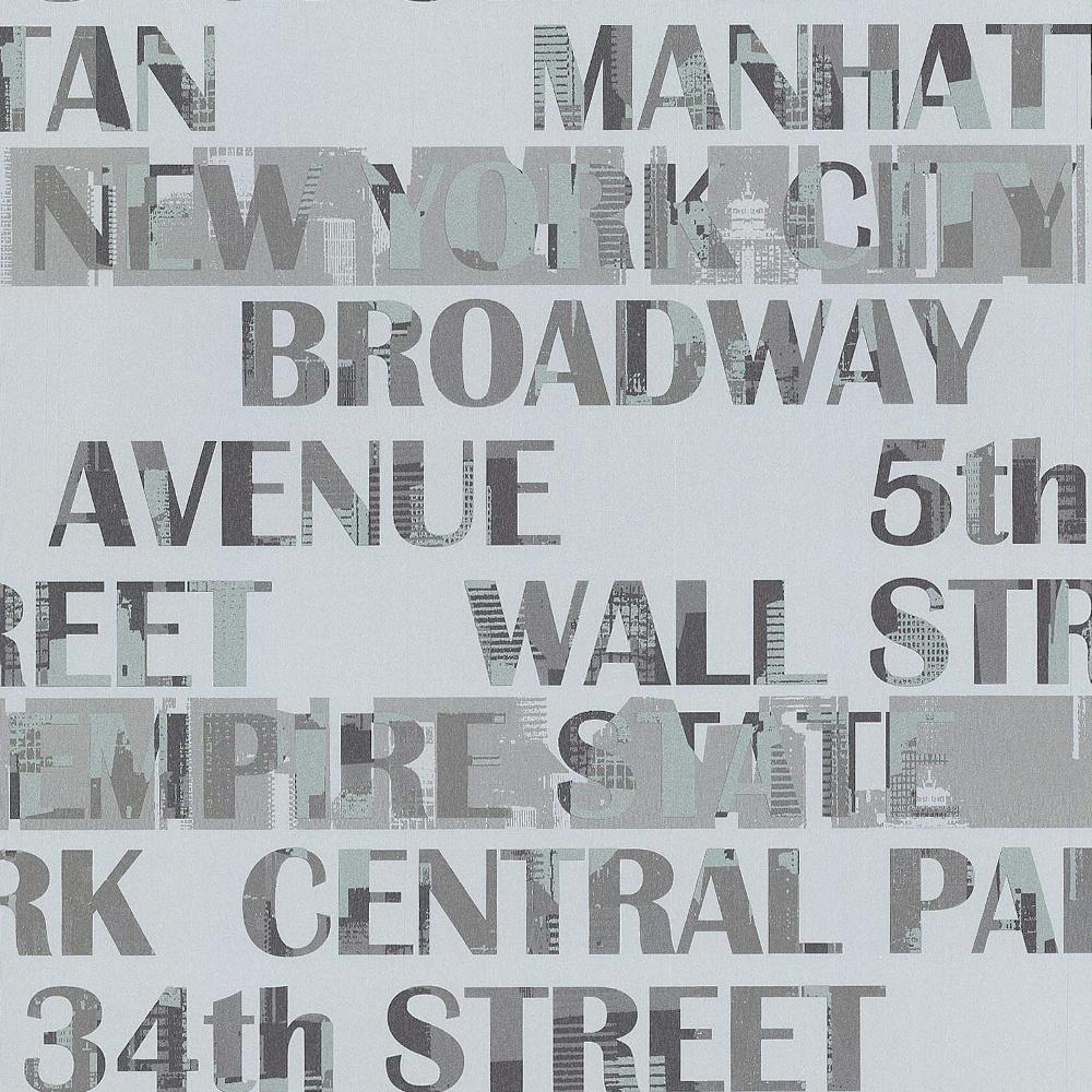 Galerie New York Typography Manhattan Silver City Pattern