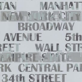 Galerie New York Typography Manhattan Silver City Pattern Wallpaper 12118409