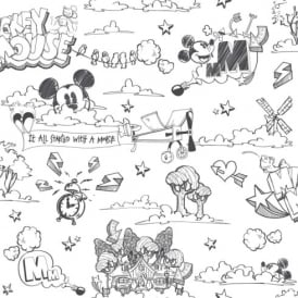 Galerie Official Disney Mickey Mouse Pattern Pencil Cartoon Childrens Wallpaper MK3014-1