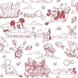 Galerie Official Disney Mickey Mouse Pattern Pencil Cartoon Childrens Wallpaper MK3014-3