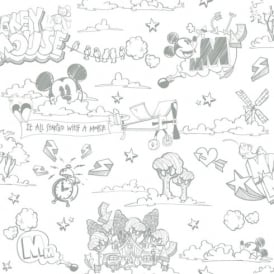 Galerie Official Disney Mickey Mouse Pattern Pencil Cartoon Childrens Wallpaper MK3014-4