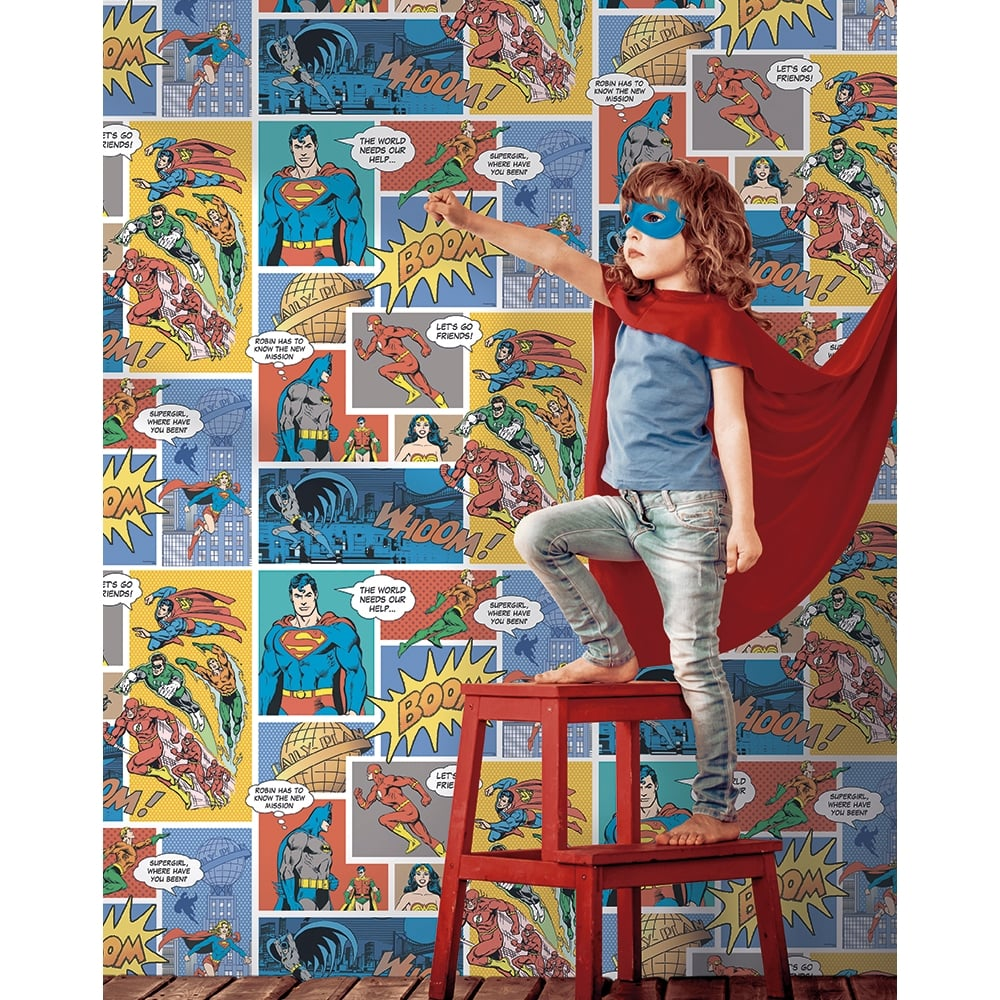 superhero wallpaper for bedroom. Galerie Official Superman Batman Flash Comic Superhero Childrens Wallpaper  DC9002 1 Blue Teal I Want