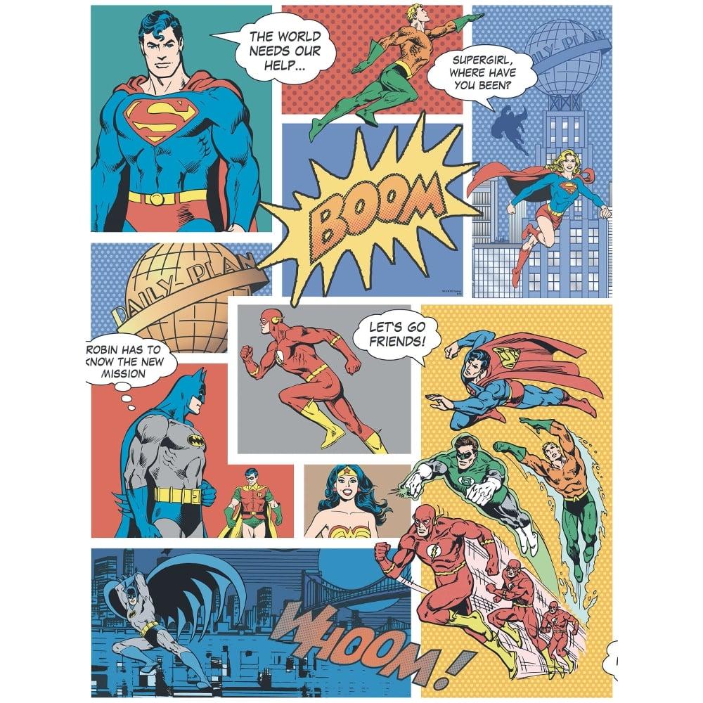 Galerie Official Superman Batman Flash Comic Superhero Childrens Wallpaper DC9002 1