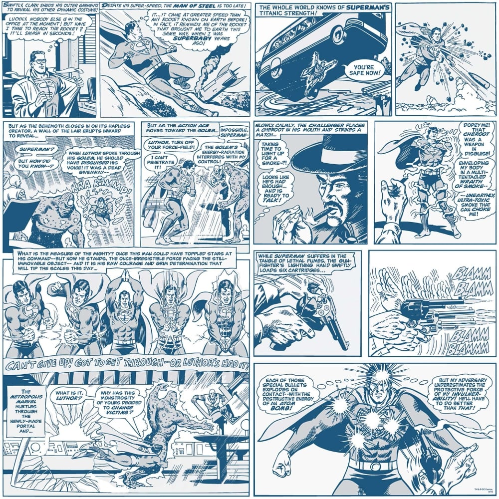 Free Comic Book Day Wallpaper: Galerie Official Superman Comic Strip Pattern Vintage