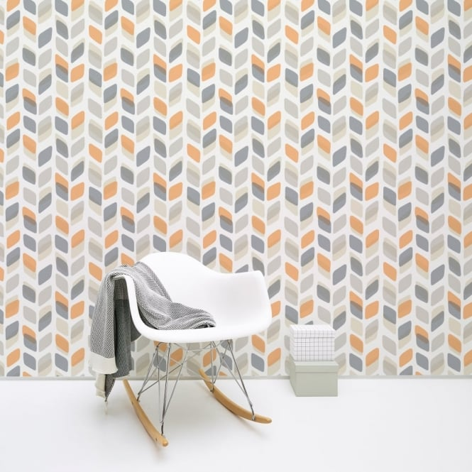 Galerie Wallcoverings Galerie Unplugged Abstract Leaf Pattern Retro Geometric Vinyl Wallpaper UN3002