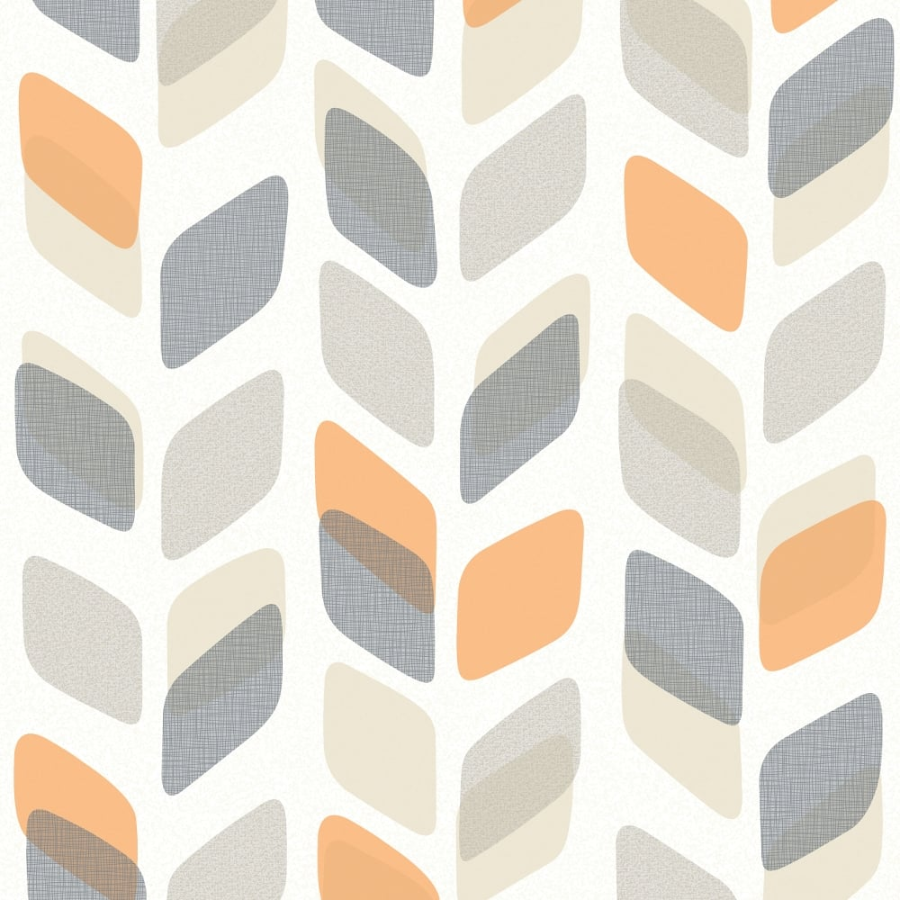 Galerie Unplugged Abstract Leaf Pattern Retro Geometric Vinyl Wallpaper UN3002