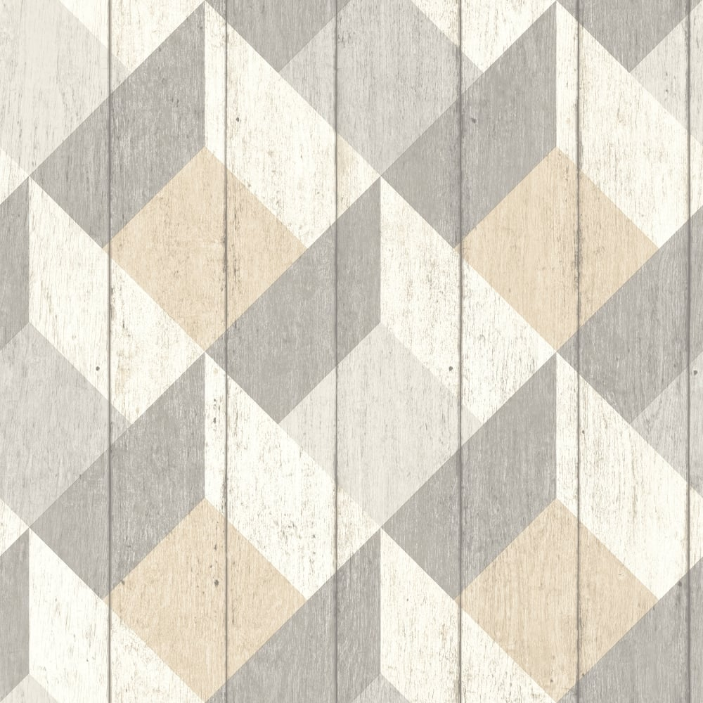 Galerie unplugged wood panel effect triangle pattern for Red and grey wallpaper for walls