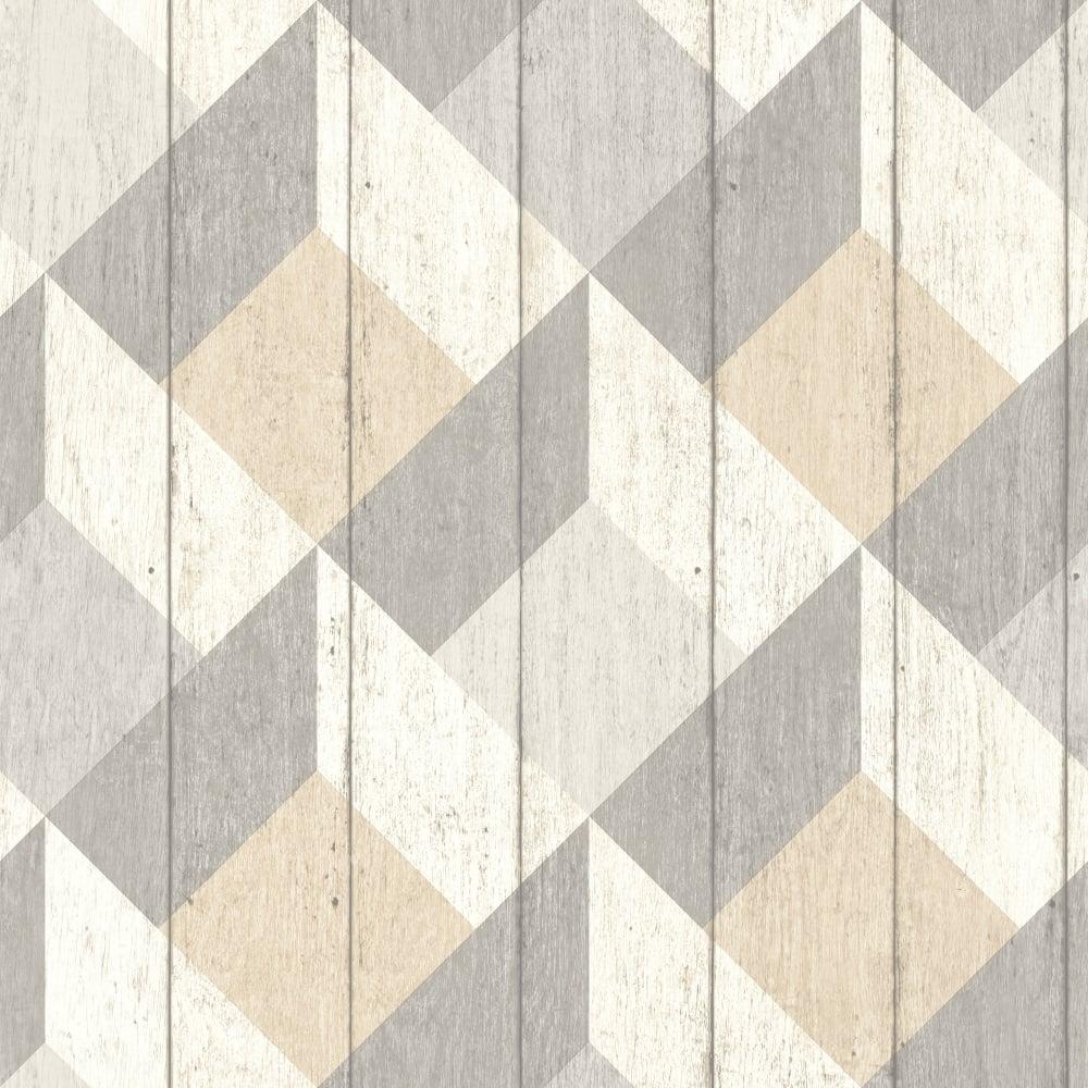 Galerie Unplugged Wood Panel Effect Triangle Pattern Textured Vinyl Wallpaper Un Brown