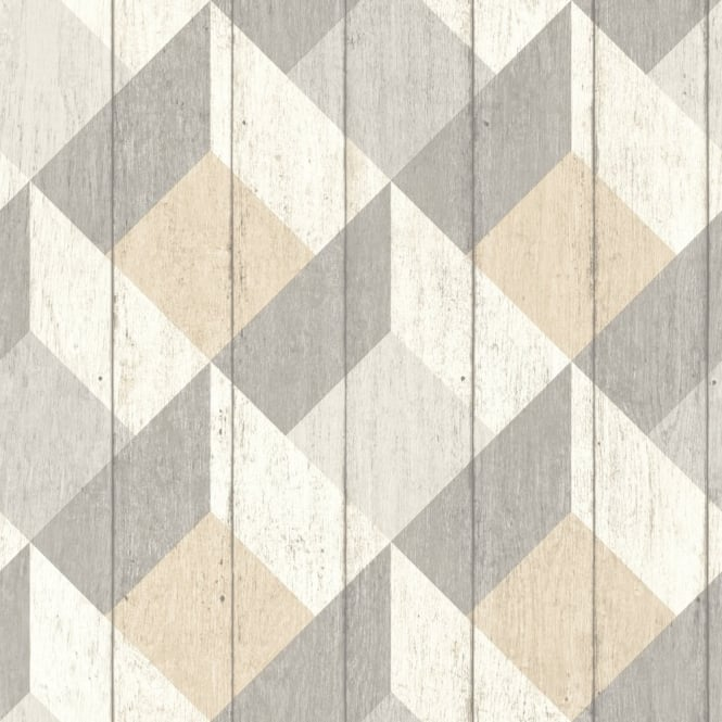 Galerie Wallcoverings Galerie Unplugged Wood Panel Effect Triangle Pattern Textured Vinyl Wallpaper UN3203