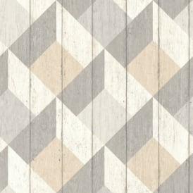 Galerie Unplugged Wood Panel Effect Triangle Pattern Textured Vinyl Wallpaper UN3203