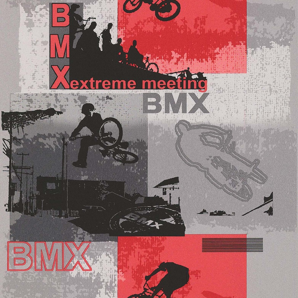 Galerie Wallcoverings Galerie YOLO BMX Bike Pattern Sports Extreme Red Grey  Boys Wallpaper 15080210