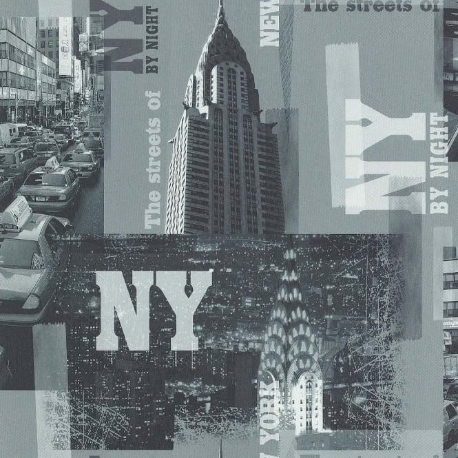 Galerie Wallcoverings Galerie YOLO New York NYC Photographic Pattern Taxi Night Wallpaper 51123509
