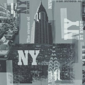 Galerie YOLO New York NYC Photographic Pattern Taxi Night Wallpaper 51123509