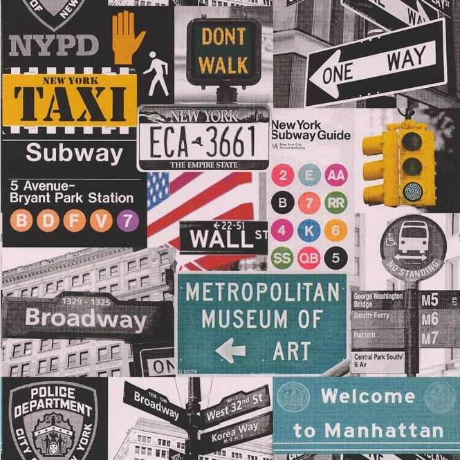 Galerie Wallcoverings Galerie Yolo New York Road Sign NYPD Taxi Broadway Wallpaper 51134602
