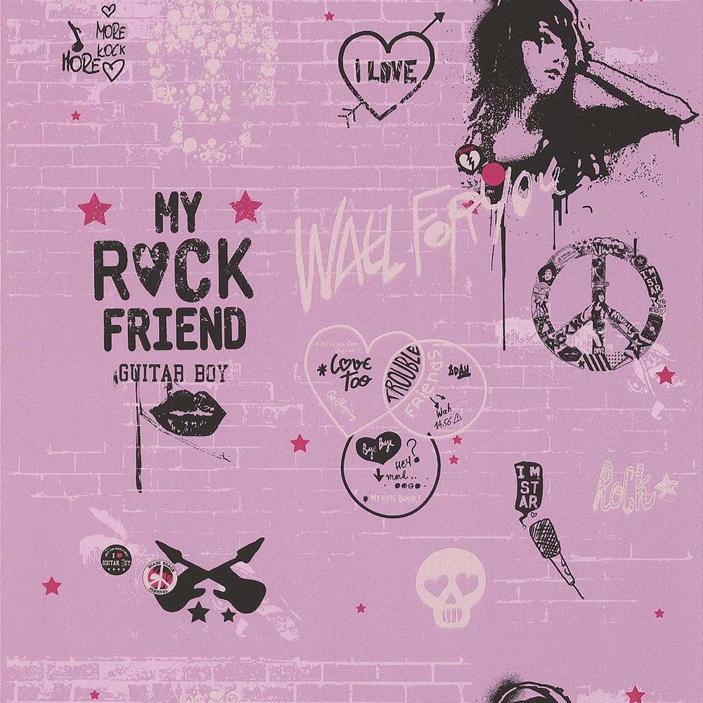 Galerie YOLO Pink Wall Graffiti Silver Skull Heart Pattern Wallpaper 51140303